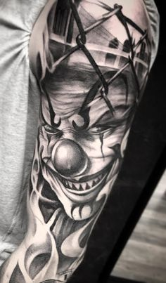 Chicano Tattoos Sleeve, Girl Arm Tattoos, Upper Arm Tattoos, Forearm Tattoo Men, Leg Tattoos, Tattoos For Guys, Evil Clown Tattoos, Scary Tattoos, Chicanas Tattoo