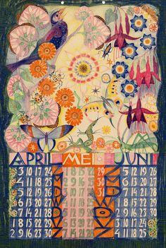 Kalender 1932, april,mei,juni. Leo Visser (illustrator) Felix P.Abrahamson (publisher)