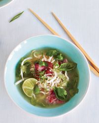 Pho made with shirataki noodles [low carb, made from tofu, find at Whole Foods]. Delicious, I make this with homemade chicken stock.