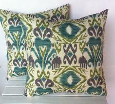 green blue ikat indoor/outdoor pillow covers, cushion, decorative throw pillow, decorative pillow, accent pillow, 18x18 pillow