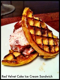 Red Velvet Cake Ice Cream Sandwich with Brown Sugar and Butter Waffles