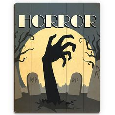 """Click Wall Art 'Horror Film' Graphic Art on Plaque Size: 24"""" H x 20"""" W x 1"""" D"""