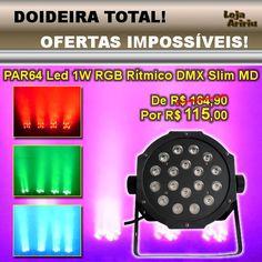 OFERTA! Canhão PAR64 LED 1W RGB Áudio-Rítmico DMX Slim MD: De R$ 164,90 Por apenas R$ 115 em http://www.aririu.com.br/canhao-led-par-64-slim-1w-digital-rgb-audioritmico-dmx-md_181xJM