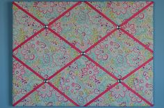 Flower french memo board, pink and turquoise with green and purple accents, by two dot designs