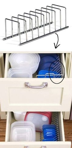 This little rack is perfect for storaging those tupperware lids, cookie sheets and plates.
