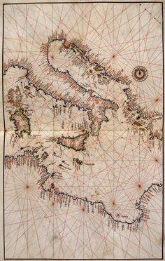 1545 - Agnese, Battista  - Atlante  -  cm 29,5 x 4, Carta del Mediterraneo Centrale - Collocazione: Ms. It. IV 492 (=5120), Geoweb Marciana.
