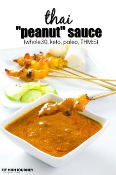 "Whole30 Thai ""Peanut"" Sauce - Fit Mom Journey Peanut Satay Sauce, Peanut Butter Sauce, Candida Diet Recipes, Gluten Free Recipes, Keto Recipes, Dutch Recipes, Healthy Recipes, Healthy Foods, Pollo Satay"