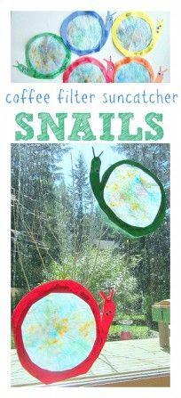 coffee filter snail suncatcher craft for kids