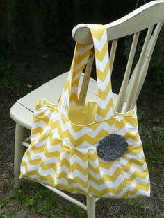 Yellow chevron diaper bag with gray rosette SassyPies by sassypies, $50.00