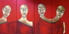 """VWL/ASIA/003 (A,B,C,D)  (Paris 2013 """"MONKS"""")-Acrylic on canvas/Acrylique sur toile/Acrylico sobre tela (4X30X60cm)"""