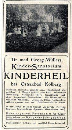 Kinderheil - Sanatorium Ostseebad Kolberg Annonce von 1908   eBay