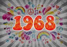 Coole Einladungskarte mit großer Zahl 1968 in typischem Sixties-Look 50th Birthday Party, Happy Birthday Wishes, Birthday Greetings, Birthday Candles, 60s Theme, Hippie Party, Flower Power, Decoration, Party Themes