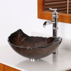 ELITE Autumn Leaves Design Tempered Glass Bathroom Vessel Sink - Overstock™ Shopping - Great Deals on Elite Bathroom Sinks