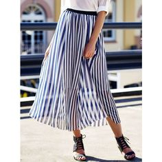 High Waist Vertical Striped Maxi Skirt ($12) ❤ liked on Polyvore featuring skirts, high waisted long skirts, maxi skirts, ankle length skirt, high-waist skirt and high-waisted maxi skirt