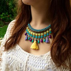 Yellow, turquoise and purple tassel necklace - short tassel necklace - handmade bohemian necklace - ethnic & ibiza style