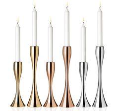 Stelton Reflection Candleholders Scandinavian Candle Holders, Messing, Reflection, Monochrom, Candleholders, Form, Environment, Apartment Interior, Dinning Table