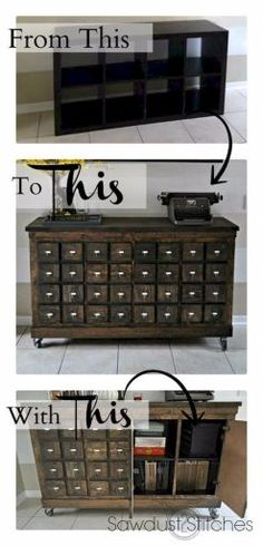 Turn an Ikea shelf into an apothecary style cabinet. — now THIS is an IKEA Hack! Turn an Ikea shelf into an apothecary style cabinet. — now THIS is an IKEA Hack! Furniture Projects, Home Projects, Home Furniture, Cheap Furniture, Modern Furniture, Furniture Websites, Furniture Dolly, Furniture Movers, Furniture Removal