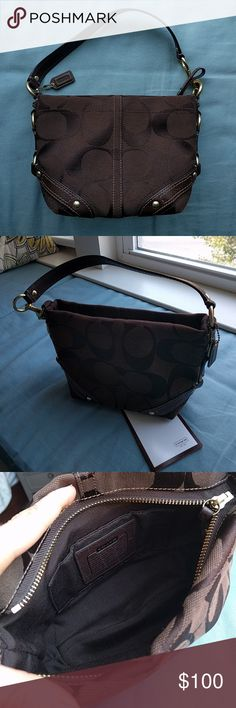 "Coach Signature Carly Purse Beautiful bag in excellent barely used condition!!! Only used on a few special occasions then returned to dust bag in the closet. Gorgeous chocolate brown with same color signature ""C's"". Originally purchased by me from Coach retail store. Tag and receipt included. Open to any offer! If you want it and I don't, I'm sute we can work it out 😉 Coach Bags"