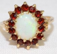 VIntage Opal and Garnet 14k Yellow Gold Ring by LadyLibertyGold