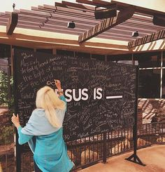 Before you leave today, make sure you stop by the chalkboard to fill in the blank of JESUS IS ______. Youth Room Church, Youth Ministry Room, Youth Group Rooms, Church Lobby, Church Foyer, Church Events, Kids Church, Church Ideas, Church Interior Design