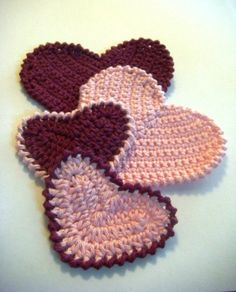 Set of 4 pink crocheted applique hearts by MotivesAndPatterns, $7.99