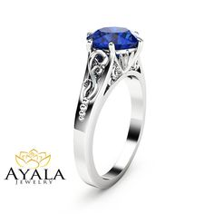 Blue Sapphire Engagement Ring in 14K White Gold by AyalaDiamonds