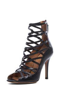 Isabel Marant Paw Calfskin Leather Sandal in Black