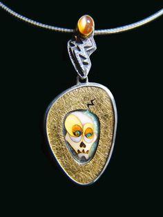 US SELLER-sugar skull scarf pendant bail slide set scarf necklace with pendant