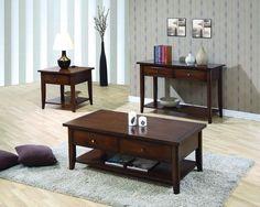 Transitional Bourbon Wood Storage Coffee Table Set