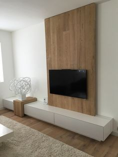 DIY DIY wood television wall design yourself – home acssesories Tv Cabinet Design, Tv Wall Design, Tv Unit Design, Wooden Wall Design, Wall Wood, Living Room Tv Unit, Home Living Room, Living Room Designs, Tiny House Family
