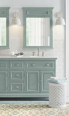 Pull together a stylish master bathroom remodel with an ocean-inspired color palette. Bathroom Renos, Bathroom Flooring, Bathroom Renovations, Home Renovation, Small Bathroom, Master Bathroom, Bathroom Cabinets, Bathroom Ideas, Bathroom Interior