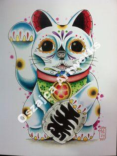 Day of the Dead Maneki Neko by OszajcaArtworks on Etsy https://www.etsy.com/listing/80303066/day-of-the-dead-maneki-neko