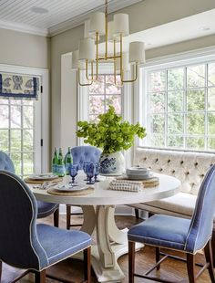 Blue And White Breakfast Table With Upholstered Banquette Chairs Area Design By