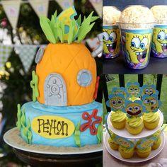Ideias criativas | Decoração criativa | Decoração com Bob Esponja | Bolo | Porta pipoca | Cup cakes | Inesquecível Festa Infantil | Décor com Bob Esponja | Bob Esponja