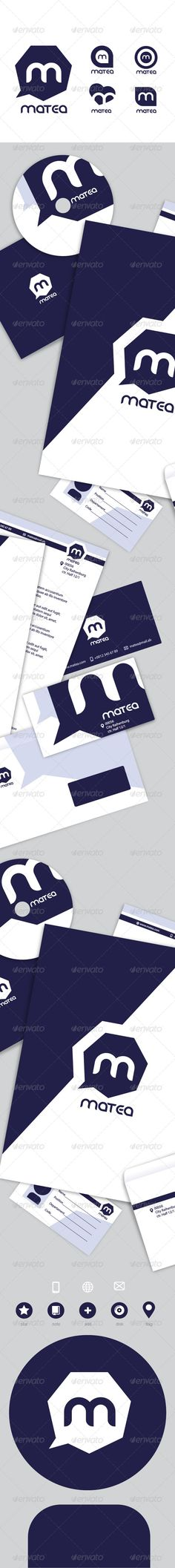 """Matea Stationary Pack  #GraphicRiver        Matea I present to you a simple, clean and business stationary set for different purposes. Here you will find forms, business cards, badges, business letters, envelopes, labels for CDs, backgrounds for your desktop, and many other things. Objects in EPS format are fully editable. Used a standard font – Myriad Pro. Font that is used for the logo – danube (regular)  .dafont /danube.font  File """"main.zip"""" include:  Letter  ID Card  Badge  Compact Disc…"""