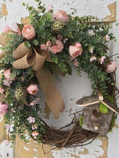 Spring Wreath, Etsy Wreath, Rustic Spring Wreath with Birdhouse, Easter Wreath, Housewarming Gift, Summer Wreath His wreath is perfect to welcome your guests into your home. It is overflowing with beautiful pink lobelia silk flowers, cream accent flowers, greens, fillers and finished