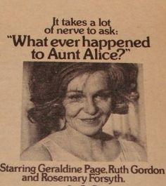 """''Whatever Happened to Aunt Alice?"""" Geraldine Page Ruth Gordon 1969 Geraldine Page, Ruth Gordon, Robert Aldrich, Halloween Movie Night, Girl Interrupted, Baby Jane, Scary Movies, Aunt, All About Time"""