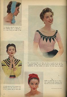 A fun selection of knit hats and sweaters (soooo love the pink and black one!) from 1953.