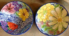Damariscotta Pottery-large bowls-  handmade and painted by Tessa and Max in our shop- Facebook: Damariscotta Pottery
