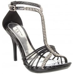 431-MAJESTIC Rhinestones High Heels - Black