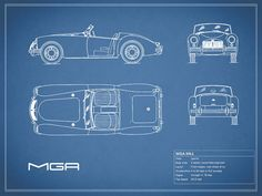 Mga Blueprint Art Print by Mark Rogan. All prints are professionally printed, packaged, and shipped within 3 - 4 business days. Choose from multiple sizes and hundreds of frame and mat options. Car Prints, Blue Prints, Cobra Kit Car, Old Sports Cars, Automobile, Blueprint Art, Mg Cars, Thing 1, Car Sketch