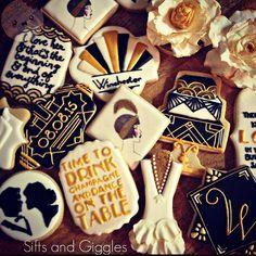 Great Gatsby Bridal Shower #decoratedcookies inspired by the amazing cookie artists @mydulcedelights @youcancallmesweetie and @thecookiechick #greatgatsbycookies #siftsandgiggles #bridalshower #sanantoniocookies #handpaintedcookies
