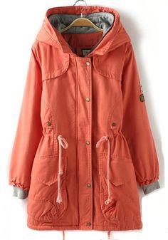 Nacarat Plain Drawstring Pockets Cotton Blend Padded Coat