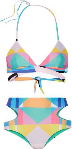 Mara Hoffman Reversible Printed Cutout Bikini -- after having babies I won't wear a bikini but maybe this might work