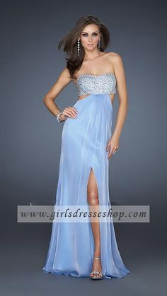 Blue Strapless Long Sequin Open back Light Homecoming Dresses La Femme 16291 http://www.girlsdresseshop.com/