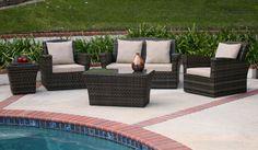 Maui 5 Piece Patio Lounge Set in All-Weather Wicker