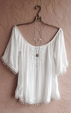 White Gauze off shoulder beach top bohemian gypsy