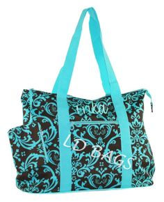 Extra Large Aqua Brown Damask Tote with Free by MonogramExpress, $21.99