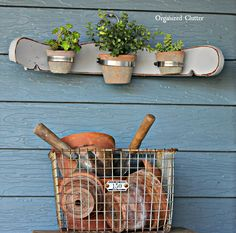 Re-Purposed Chair Back Flowerpot Holder