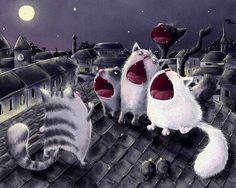 Фото Кошачий хор под руководством кота дирижера, стоя на крыше дома, исполняет кошачью песню (© Akela), добавлено: 26.04.2015 06:59